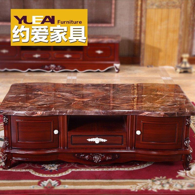 大理石茶几古典欧式实木深红色储物功夫茶桌子电视柜组合1.3 1.