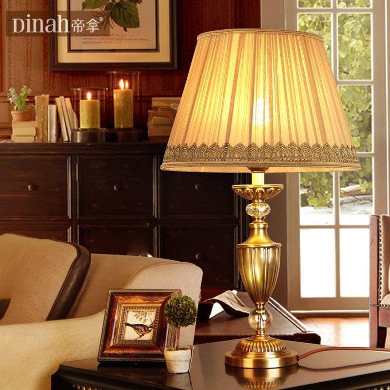 帝拿欧式全铜台灯艺术美式乡村复古纯铜装饰婚庆卧室床头中式台灯