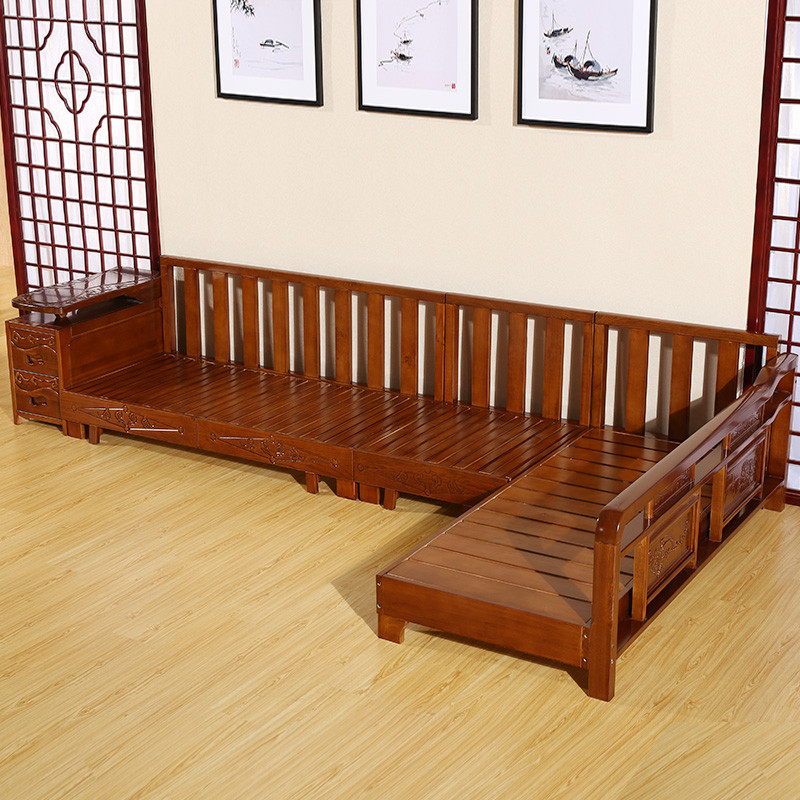 禾辰中式客厅 水曲柳 组合实木沙发 实木茶几