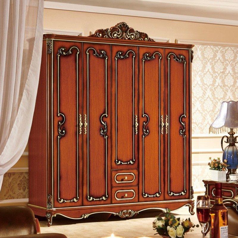 欧施洛 衣柜实木衣柜欧式衣柜美式古典衣柜定制衣柜五门衣柜大衣柜图片