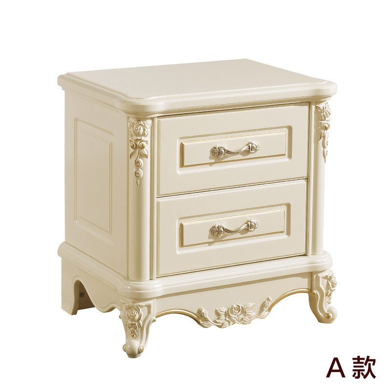 法莉娜 欧式实木床头柜 实木床边柜子 欧式储物柜 卧室家具 m11