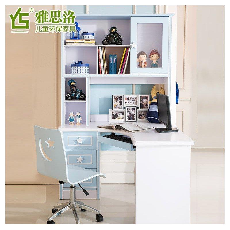 欧式书桌书柜组合儿童学习桌椅套装电脑桌带书架转角