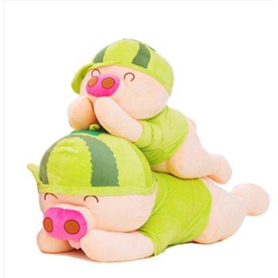 猪猪公仔大号可爱布娃娃抱枕猪玩偶七夕情人节女生日 50cm 西瓜趴猪