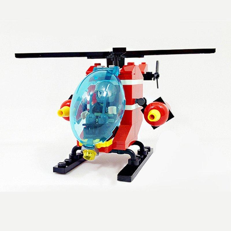【星钻系列】古迪积木9206城市消防系列消防直升机,.