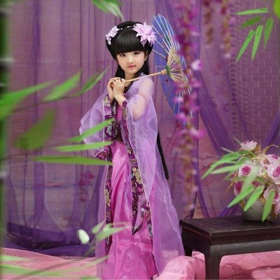 女童汉服儿童古装贵妃小皇后民族服装古筝长裙表演出服公主七仙女唐装