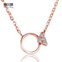 黛贝林珠宝正品18k钻石金玫瑰项链圆圈三角形天朗西敏寺图纸图片