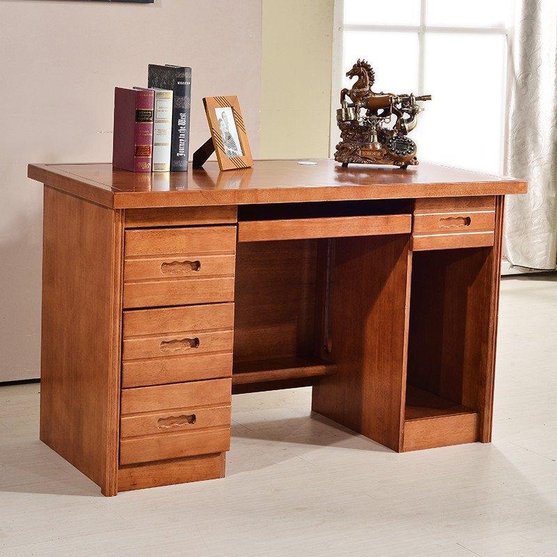 家具 實木書桌書架組合 橡木學習桌 現代電腦桌臺家用帶書柜寫字臺66圖片