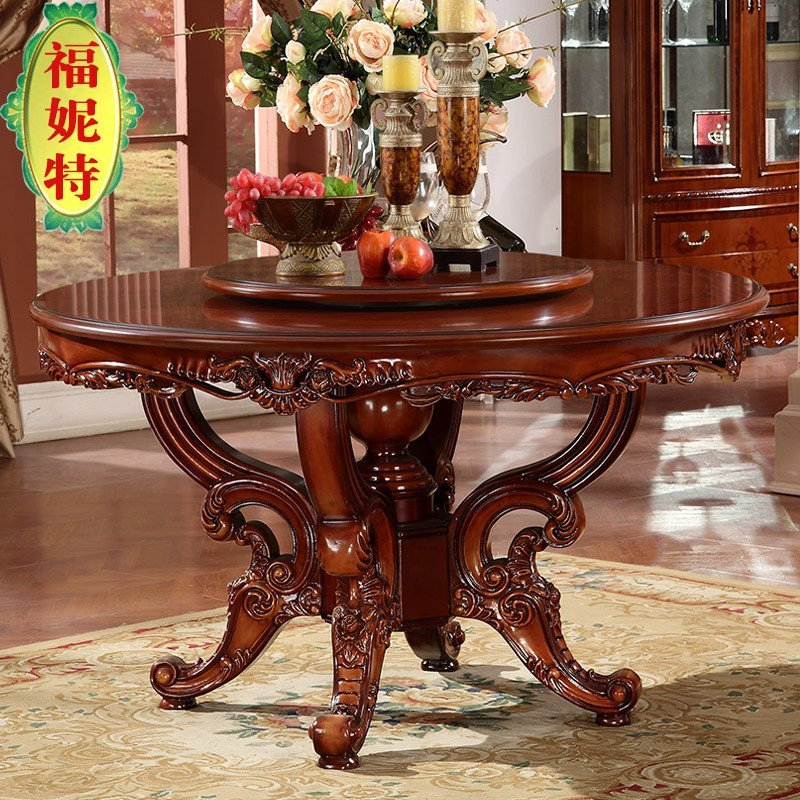 欧式大理石圆餐桌 美式实木雕花复古餐桌 欧式旋转双层圆桌 定制转盘