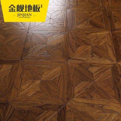 实木复合多层木地板 榆木正方形仿古浮雕拼花