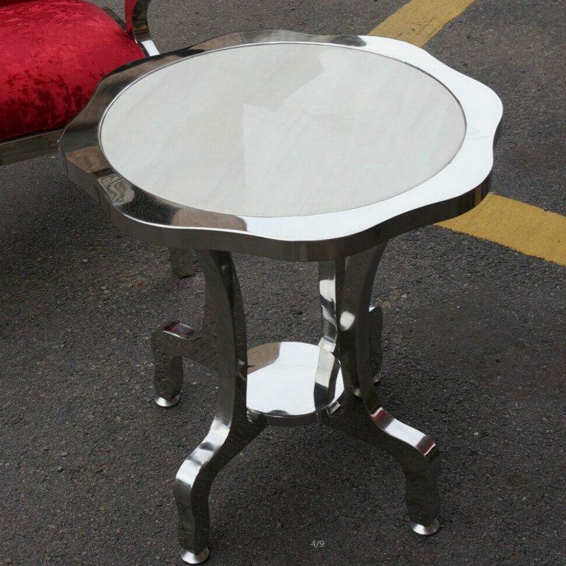 【京好】不锈钢茶几桌m系列 欧式小边几边桌圆桌子(10天左右发货)高清
