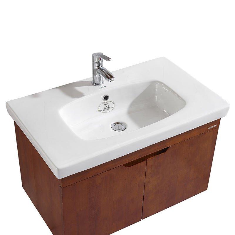 法恩莎洗浴柜组合 仿古浴室柜橡木洗手盆实木浴柜吊柜fpgm3655-a全套