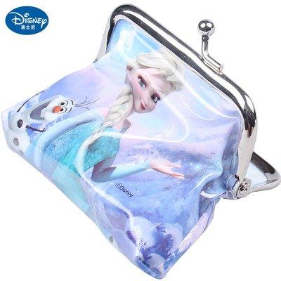 正品迪士尼冰雪奇缘儿童零钱包可爱公主手拿包卡通饰品 紫色爱莎公主