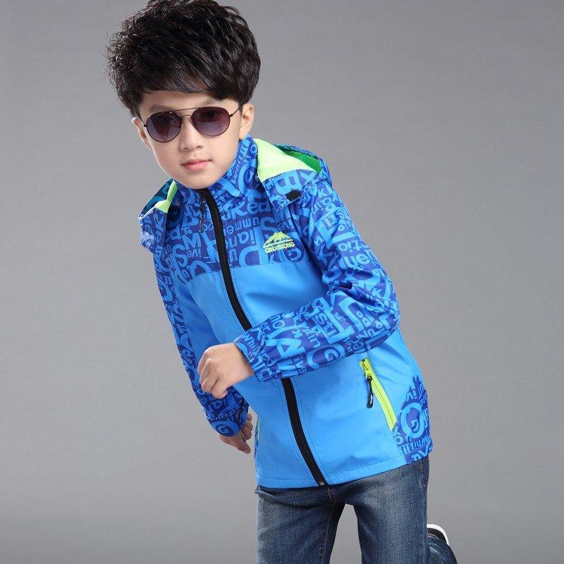 布奇酷童装 男童冲锋衣 春秋款外套 大童正品儿童冲锋衣外出登山服