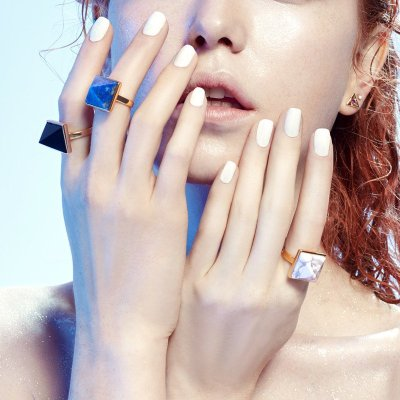 独立设计师【nonmoi】宇宙三角系列 铜镀24k金镶黑曜石能量三角戒指