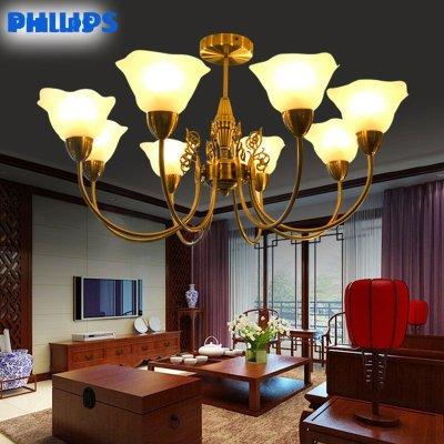 飞利浦吊灯灯具灯饰现代简约欧式创意客厅玉兰八头