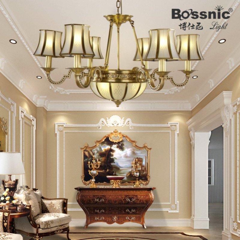 全铜灯欧式吊灯全铜灯具灯饰客厅卧室吊灯筒灯中式全