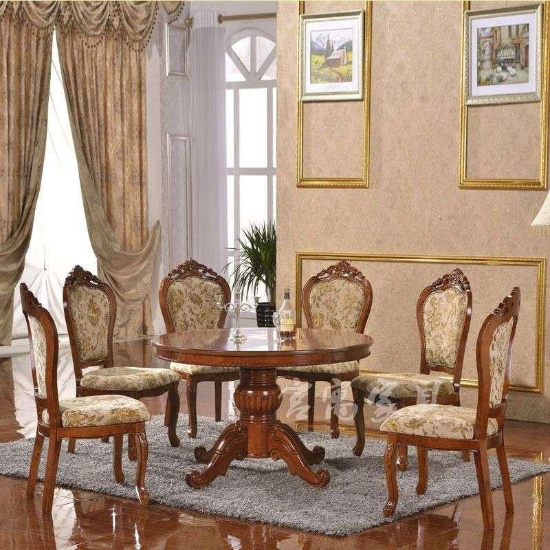 宫寓家具欧式实圆木餐桌 仿古美式圆桌 法式美式欧式实木餐桌1.2/1.