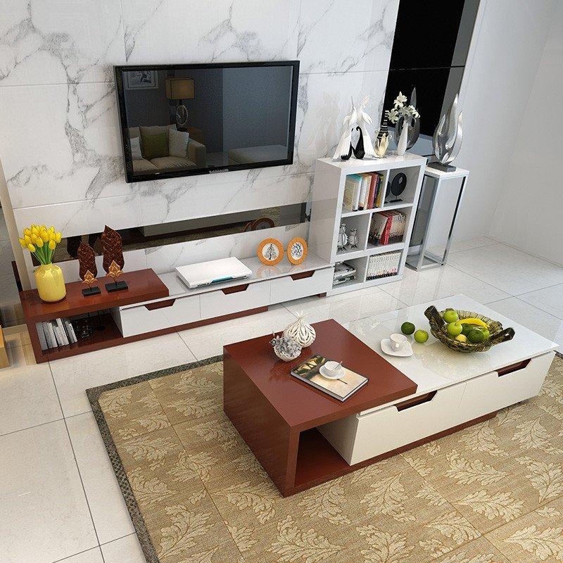 鑫盛雅 简约现代客厅储物茶几 电视机柜茶几组合套装 钢琴烤漆 茶几高