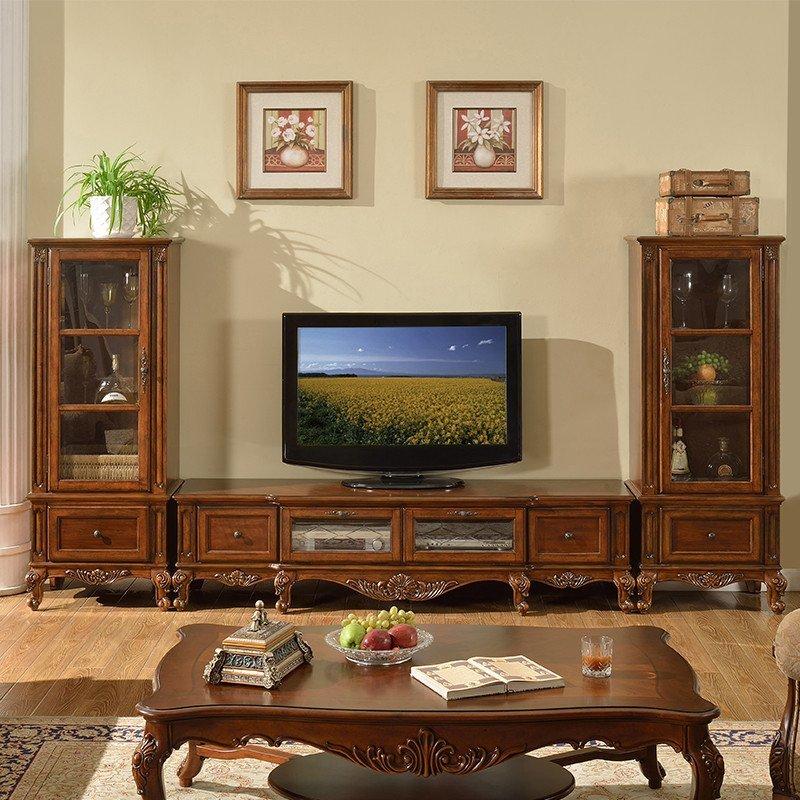凯美格 美式电视柜 客厅欧式实木电视机柜 地柜组合乡村家具仿古 电视