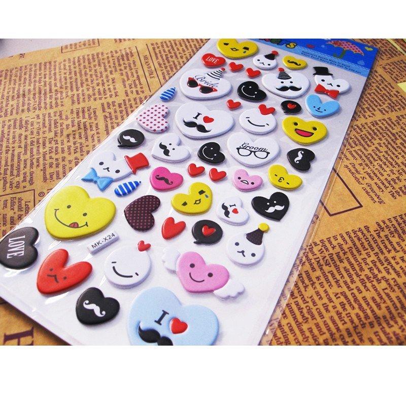 幼儿童卡通贴纸 立体奖励贴画粘贴泡泡贴粘纸 数字 字母 形状 动物 30