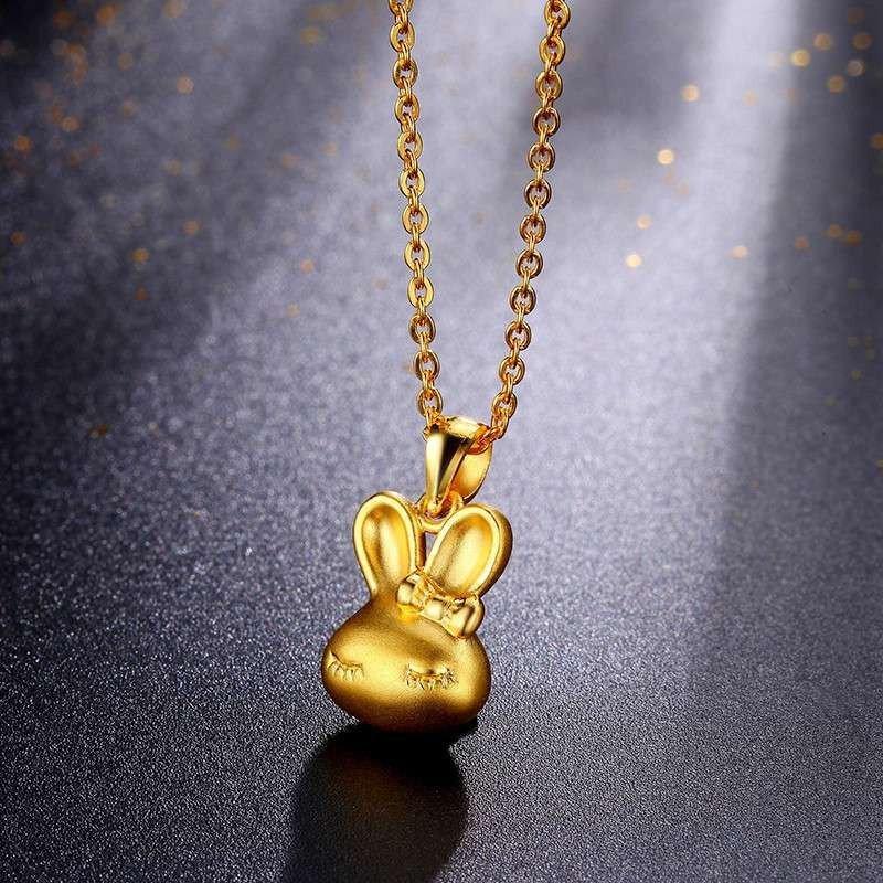 钻石凤凰 黄金吊坠女款 999足金3d硬金 磨砂可爱小兔子项坠首饰女
