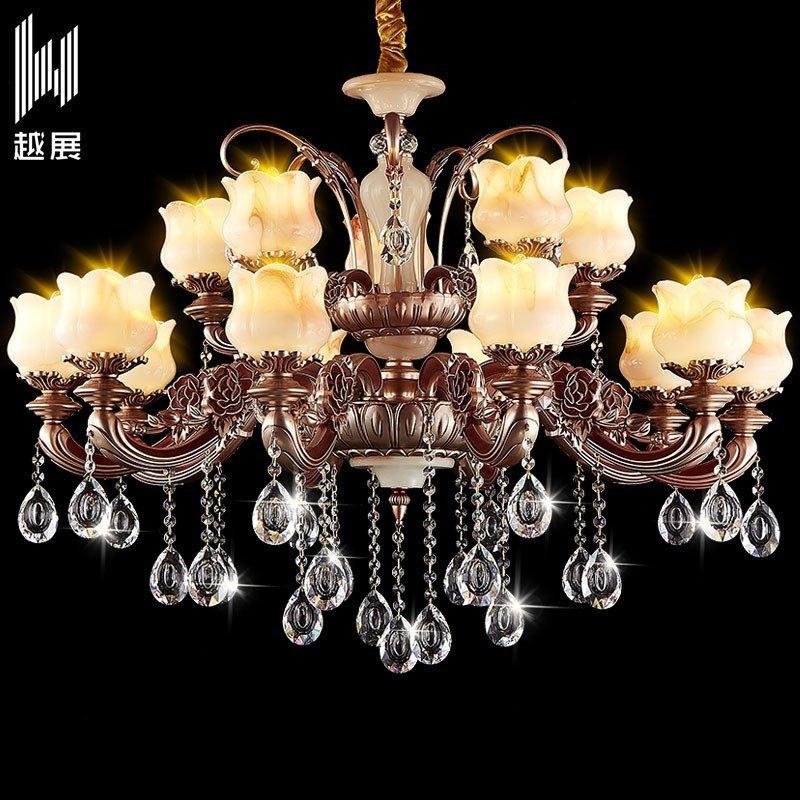 欧式玉石水晶吊灯客厅餐厅吊灯别墅酒店大堂吊灯蜡烛水晶灯1007 10+5