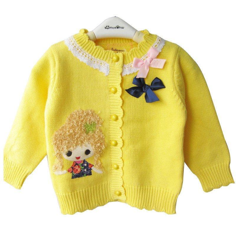 布兜娃娃童装女童毛衣全棉宝宝针织衫幼儿开衫外套秋