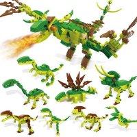 恐龙圣诞单机积高男孩积木动物8合1男女玩具礼物兵玩具图片