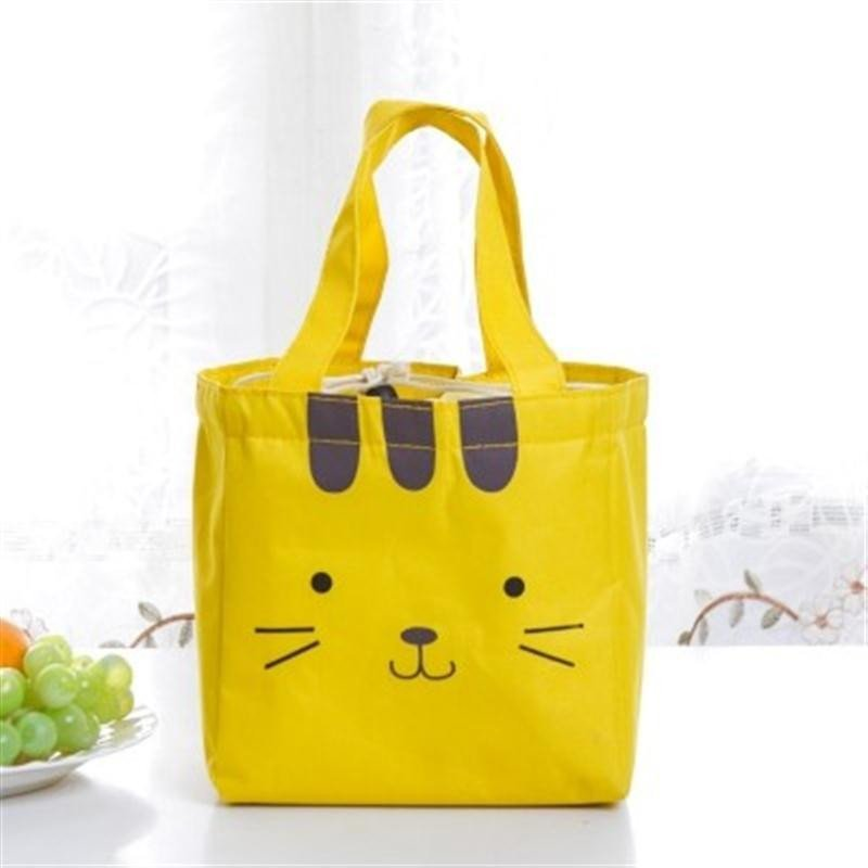 可爱卡通便当包饭盒袋 韩国创意动物午餐包 保温袋 手拎包 黄色高清