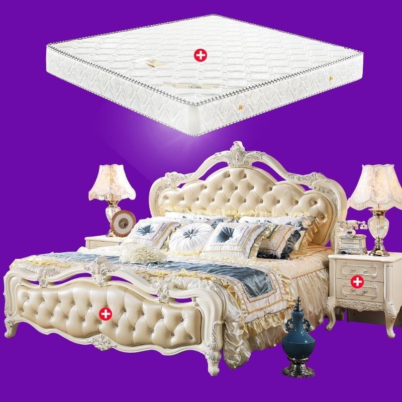欧式床真皮双人床法式实木卧室家具公主婚床