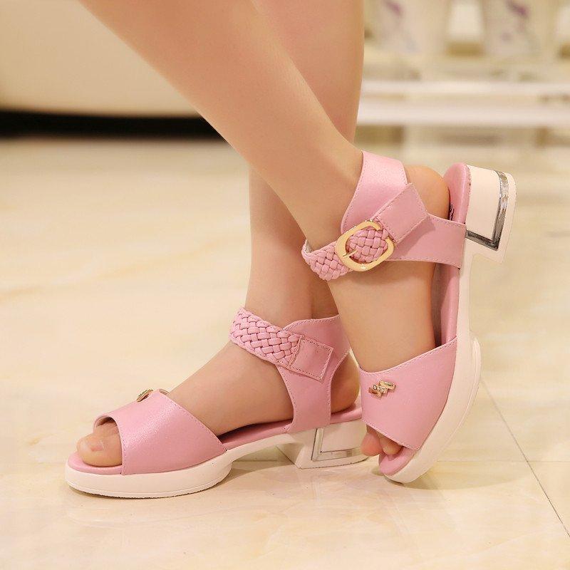 女童凉鞋2016新款夏季儿童露趾公主鞋中大童鱼嘴高跟鞋韩版女童鞋