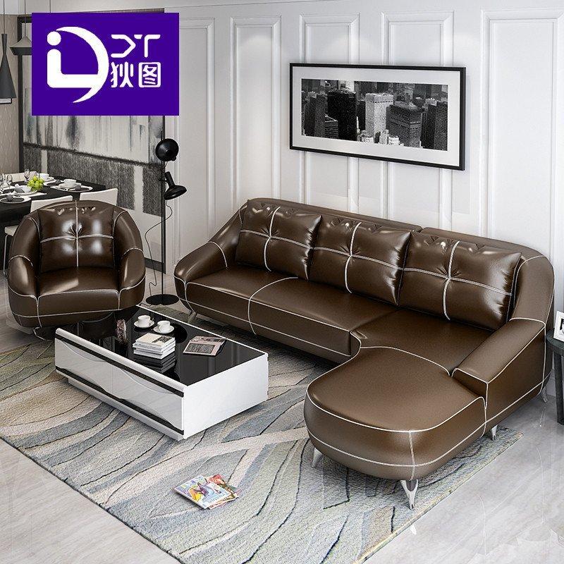 狄图 沙发 真皮沙发 现代简约欧式客厅沙发皮沙发客厅家具进口中厚皮