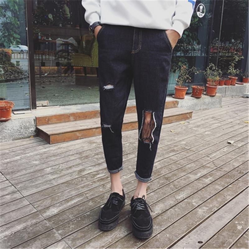 kc 新款膝盖大破洞猫须设计牛仔九分裤 韩版小脚牛仔裤 32(2尺5) 黑色