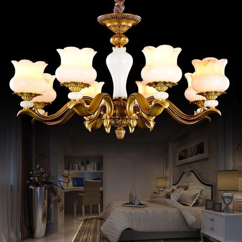 阳光雅阁(yoge)欧式全铜灯天然玉石吊灯别墅客厅美式