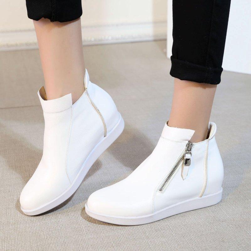 peet dullaert2016新款头层牛皮高帮乐福鞋女鞋品第拉链内增高休闲鞋