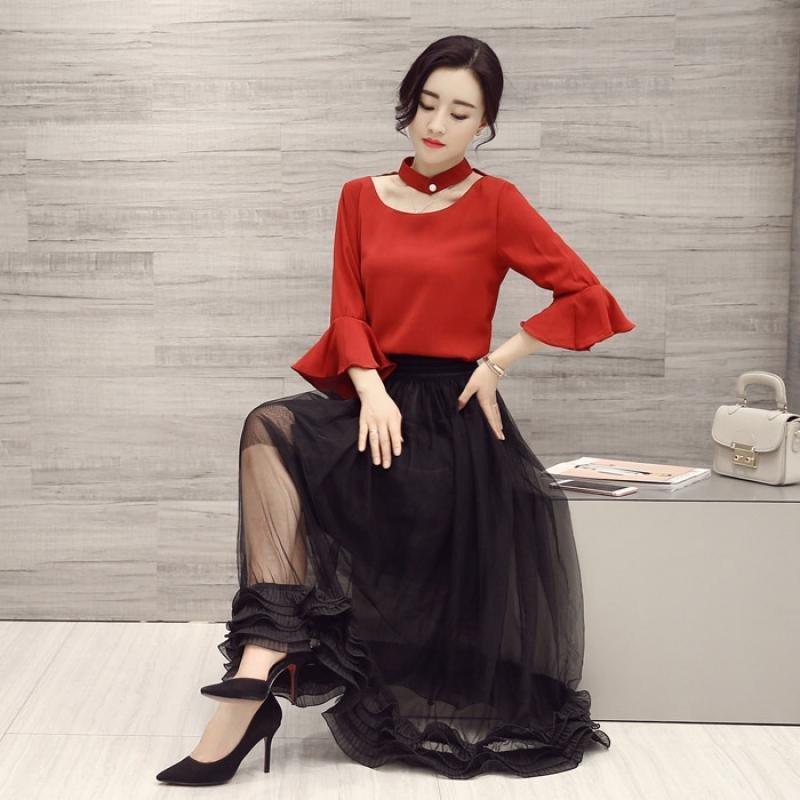 网纱裙搭配什么上衣_尊首(zunshou)2016春装新款女装韩版长袖红色雪纺上衣网纱裙两件套装
