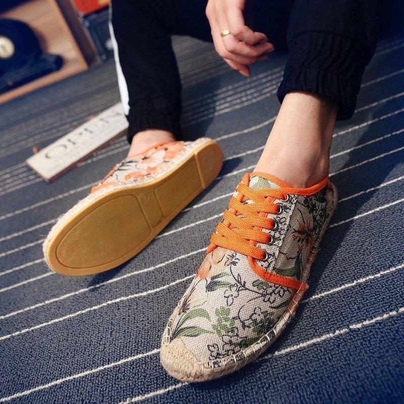 卡慕洛时尚 春夏季新款民族风花纹帆布鞋帅t小码男鞋子潮鞋透气渔夫鞋