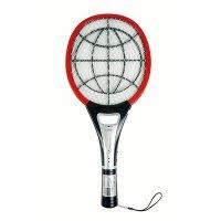 美美充电式电蚊拍MM-P018B灭蚊拍苍蝇拍LED照明灯温度显示功能式三层金属网 红色