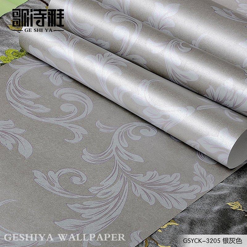 莨苕叶无纺布墙纸欧式客厅卧室沙发电视背景墙壁纸 gsyck-3205银灰色