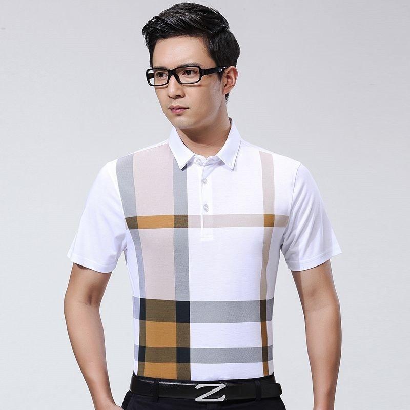 维贝斯特 2016夏装新款丝光棉短袖t恤 男士休闲寸衫条纹半袖中年男装