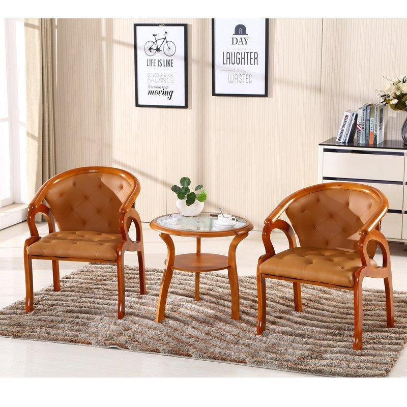 赛森 欧式实木围椅茶几三件套田园酒店宾馆咖啡桌子 阳台休闲洽谈圈椅