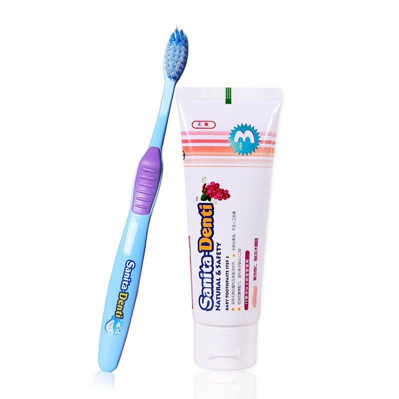 莎卡婴幼儿牙膏-step3(葡萄)75g+儿童牙刷 3阶段高清实拍图