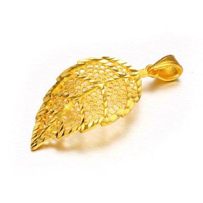 喜福龙 黄金吊坠 足金吊坠 百搭款黄金树叶枫叶 金叶子吊坠女 约1.