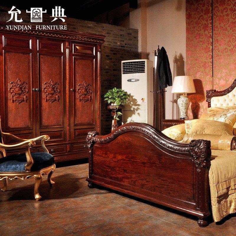 允典红木家具 花梨木帝国工匠卧室五件套 欧式古典 六尺床高清实拍图