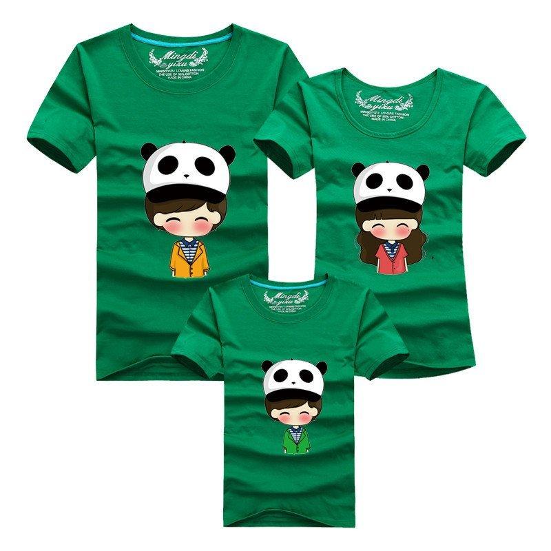 明地一族 亲子装t恤 夏季棉质休闲圆领短袖体恤衫 卡通图案一家三口家