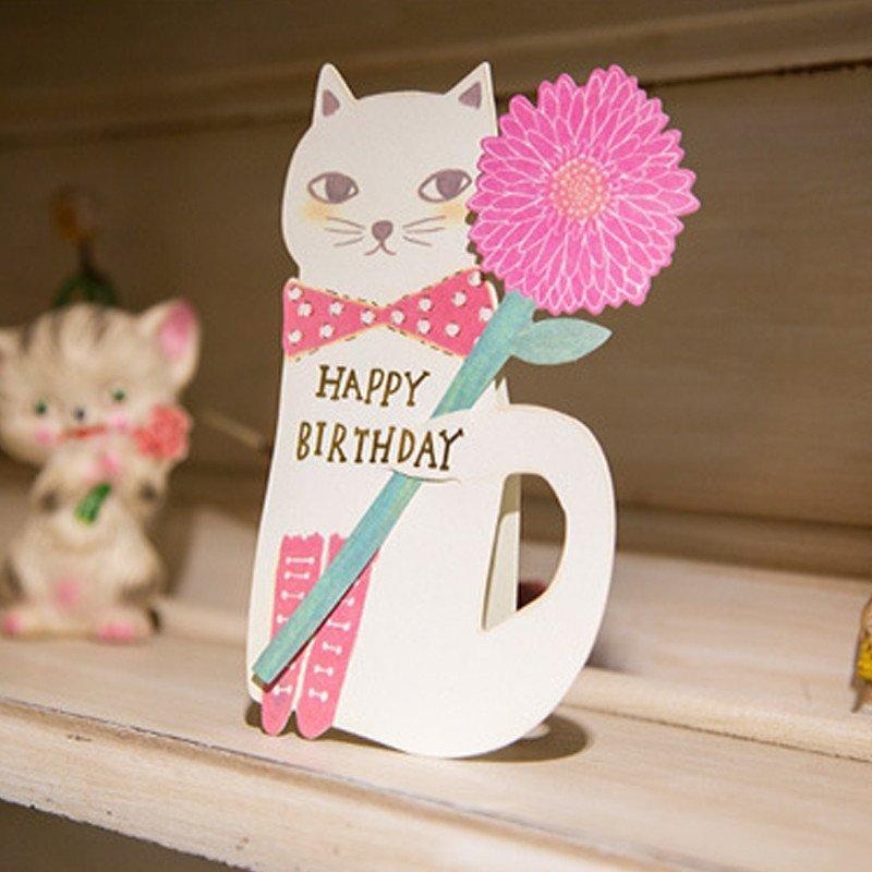 孩派 彩虹猫咪天使diy卡片 可爱立体动物贺卡 礼品祝福卡贺卡 白猫