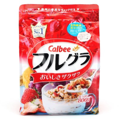 日本进口卡乐比(Calbee)水果颗粒果仁谷物营养早餐即食麦片800g*3