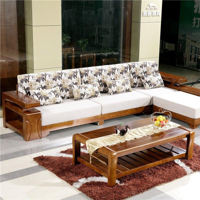 青木川 简约现代新中式全实木沙发 转角沙发三人位双人位沙发组合图片
