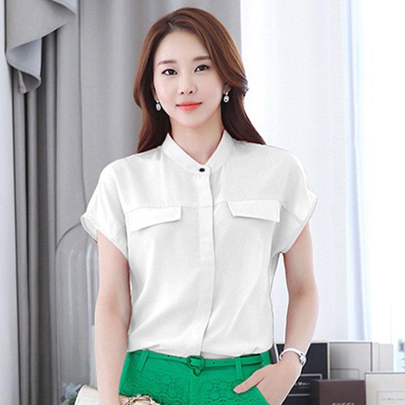 立领衬衫女式短袖