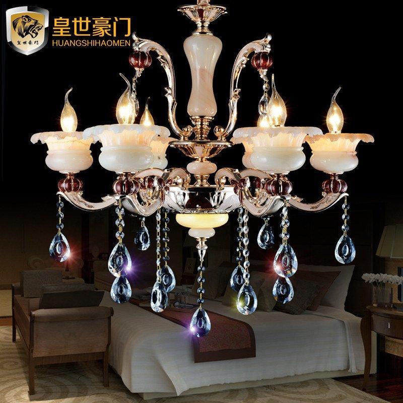 皇世豪门欧式灯笼客厅卧室餐厅云玉石现代简约led玉兰花水晶吊灯